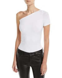 Helmut Lang One Shoulder Seamless Bodysuit White