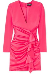 Haney Lilly Ruffled Silk Crepe And Satin Mini Dress Bright Pink
