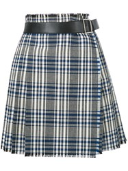 Alexander Mcqueen Checked Wrap Skirt Women Calf Leather Cupro Virgin Wool 38 Black