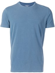 Majestic Filatures Round Neck Fitted T Shirt Blue
