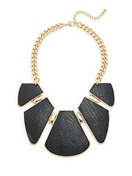 Natasha Reptile Embossed Five Station Necklace Black Gold