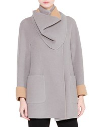 Giorgio Armani Long Sleeve Wrap Coat W Detachable Collar Gray