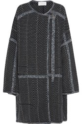 Chloe Oversized Wool And Cashmere Blend Boucle Coat Navy