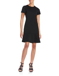 Michael Michael Kors Ribbed Knit Short Sleeve Sheath Dress Black