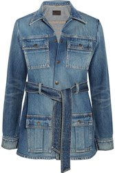 Saint Laurent Belted Denim Jacket Mid Denim