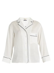 Muveil Good Night Embroidered Notch Lapel Shirt White
