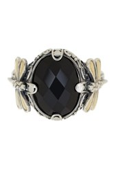 Phillip Gavriel 18K Gold And Sterling Silver Oval Onyx And Dragonfly Fancy Ring Black