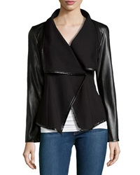 Vakko Faux Leather Drape Jacket Black