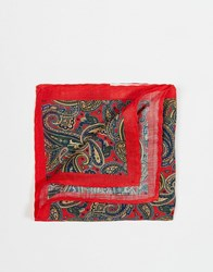 Selected Homme Pocket Square In Paisley Red