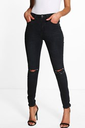 Boohoo Lauren High Waisted Skinny Jeans Black