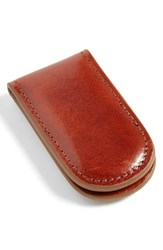 Men's Bosca Leather Money Clip Brown Amber