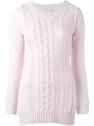 Agnona Cable Knit Jumper Pink Purple