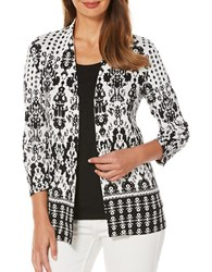 Rafaella Printed Open Front Jacket Black