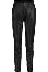 Joseph Tessa Suede Trimmed Leather Skinny Pants Black