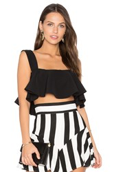 Milly Ruffle Cropped Tank Black