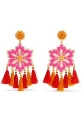 Mercedes Salazar Hibiscus Rosa Tasseled Gold Plated Clip Earrings Orange