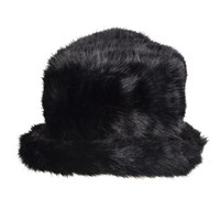 Dents Women S Faux Fur Hat Wth Brim Black