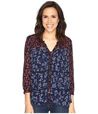 Lucky Brand Mixed Print Peasant Navy Multi Women's Clothing Blue