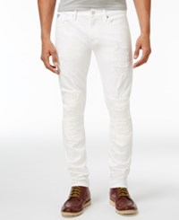 Guess Men's Slim Fit Tapered Ripped Jeans Optic White Wash W Destroy