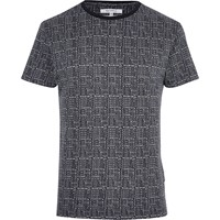 Bellfield River Island Mens Navy Blue Dot Print T Shirt