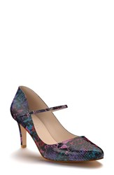 Shoes Of Prey Women's Mary Jane Pump Purple Print Leather