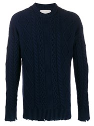 Laneus Cable Knit Sweater Blue