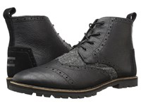 Toms Brogue Boot Black Leather Charcoal Fleck Men's Lace Up Boots