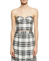 Alice Olivia Orten Cupped Plaid Bustier Crop Top White Black White Black