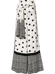 Oscar De La Renta Dots Print Palazzo Pants White