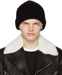 Neil Barrett Black Ribbed Beanie