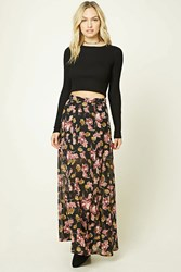 Forever 21 Contemporary Floral Maxi Skirt Black Wine