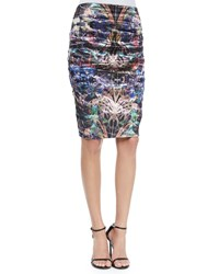 Nicole Miller Ruched Floral Print Pencil Skirt Multicolor