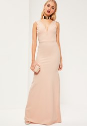 Missguided Nude V Plunge Maxi Dress