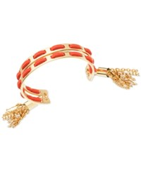 Guess Gold Tone Red Faux Suede Woven Cuff Bracelet