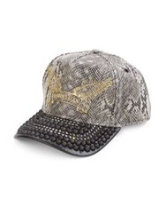 Robin's Jeans Metal Studded Brim Mesh Overlay Cap Snake Grey