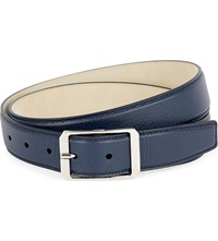 Brioni Pebbled Leather Belt Navy Navy