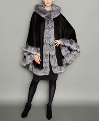 The Fur Vault Fox Trim Wool Blend Cape Black Grey