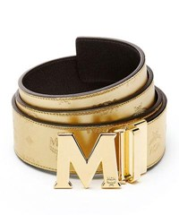 Mcm Metallic Embossed Visetos Belt Gold