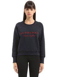 Burberry Logo Embroidered Cotton Sweatshirt Blue Red