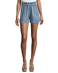 See By Chloe Paper Bag Waist Striped Shorts Denim Blue