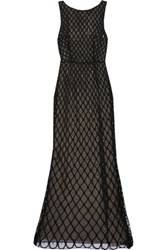 Alice Olivia Embellished Open Back Tulle Gown Black
