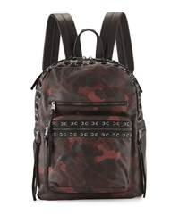 Ash Billy Camo Leather Backpack W Laces Bordeaux