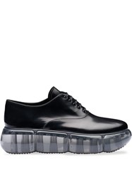 Prada Leather Oxford Shoes With Rubber Sole Black