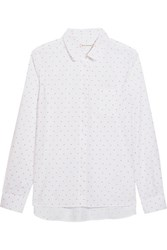 Chinti And Parker Peter Pan Swiss Dot Cotton Shirt White