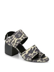 Ld Tuttle The Lace Leopard Print Leather Block Heel Sandals