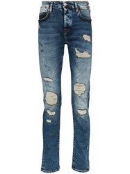 True Religion Roco Distressed Slim Fit Jeans Blue