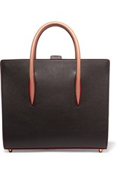 Christian Louboutin Paloma Medium Spiked Textured Leather Tote Dark Brown