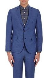 Brooklyn Tailors Men's Wool Micro Canvas Two Button Sportcoat Blue