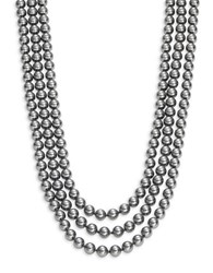 Nadri Three Row Simulated Faux Pearl Necklace 18 In. Silver