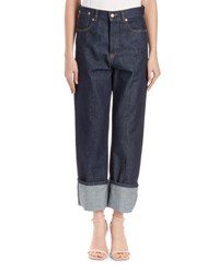 Dries Van Noten High Waist Cuffed Jeans Indigo